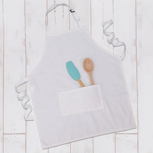 White Canvas 100% Cotton Adjustable Apron Bib with Twin Pockets - Threadart.com