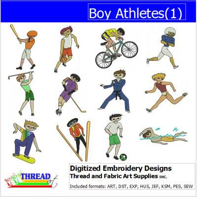 Machine Embroidery Designs - Boy Athletes(1) - Threadart.com
