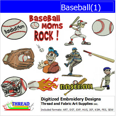 Machine Embroidery Designs - Baseball(1) - Threadart.com