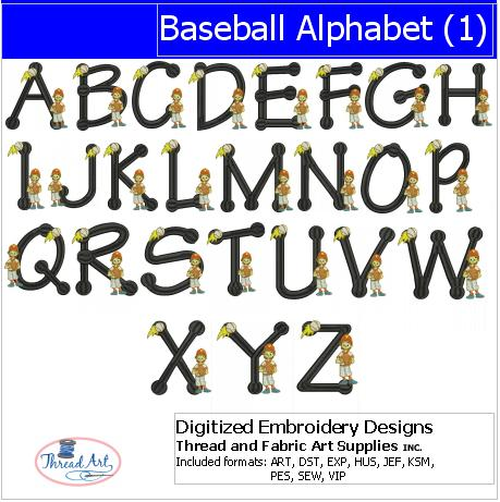 Machine Embroidery Designs - Baseball Alphabet(1) - Threadart.com