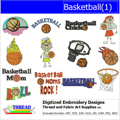 Machine Embroidery Designs - Basketball(1) - Threadart.com