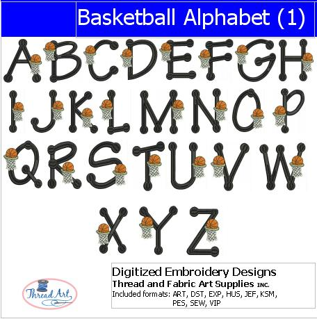 Machine Embroidery Designs - Basketball Alphabet 1 - Threadart.com