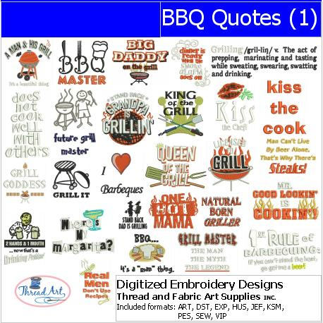Machine Embroidery Designs - BBQ Quotes(1) - Threadart.com