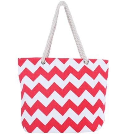 South Beach Chevron Print Canvas Tote Bag - Coral - Threadart.com