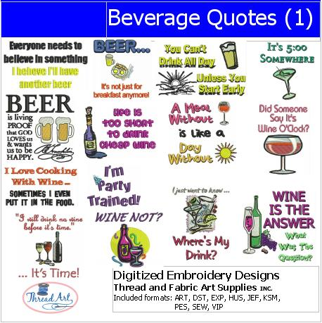 Machine Embroidery Designs - Beverage Quotes(1) - Threadart.com