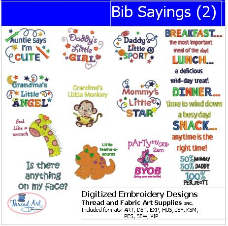 Machine Embroidery Designs - Bib Sayings(2) - Threadart.com