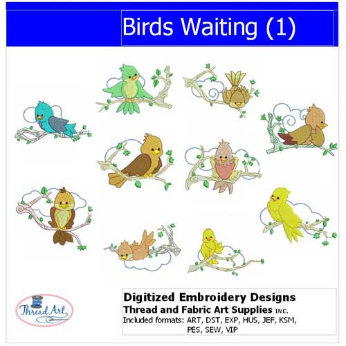 Machine Embroidery Designs - Birds Waiting(1) - Threadart.com