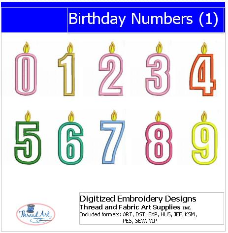 Machine Embroidery Designs - Birthday Numbers(1) - Threadart.com