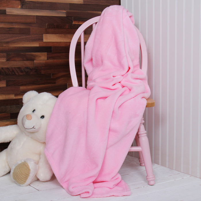 Plush Fleece Blanket - Light Pink - Threadart.com