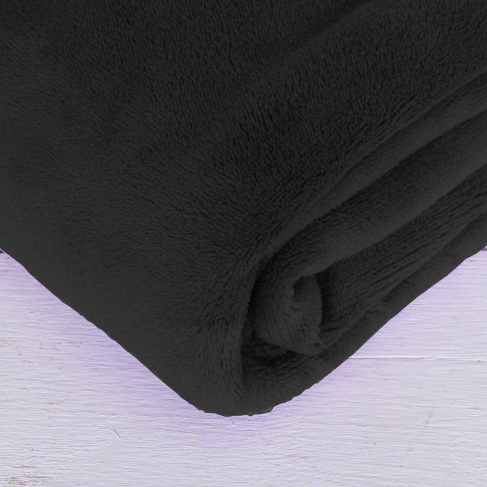 3 Pack of Plush Fleece Blanket - Black - Threadart.com