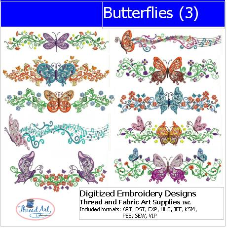 Machine Embroidery Designs - Butterflies(3) - Threadart.com