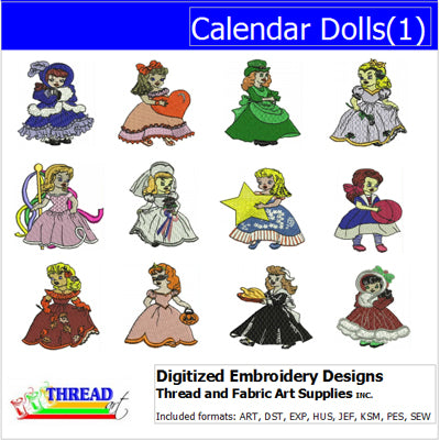 Machine Embroidery Designs - Calendar Dolls(1) - Threadart.com