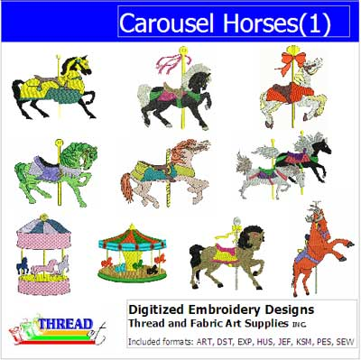 Machine Embroidery Designs - Carousel Horses(1) - Threadart.com