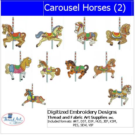 Machine Embroidery Designs - Carousel Horses(2) - Threadart.com