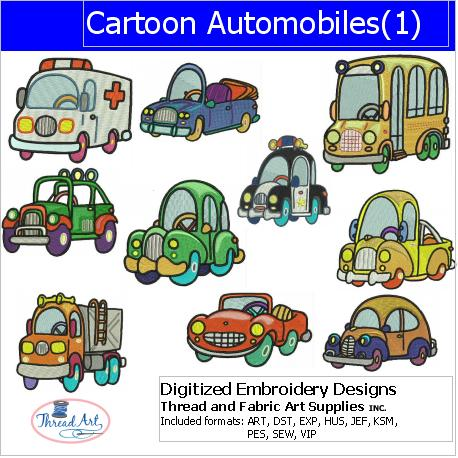 Machine Embroidery Designs - Cartoon Autos(1) - Threadart.com