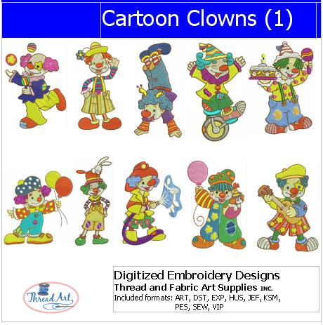 Machine Embroidery Designs - Cartoon Clowns(1) - Threadart.com
