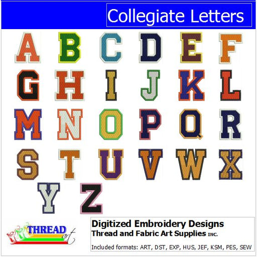 Machine Embroidery Designs - Collegiate Letters - Threadart.com