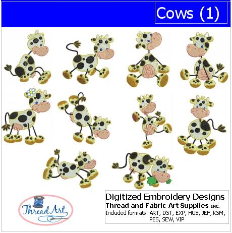 Machine Embroidery Designs - Cows(1) - Threadart.com