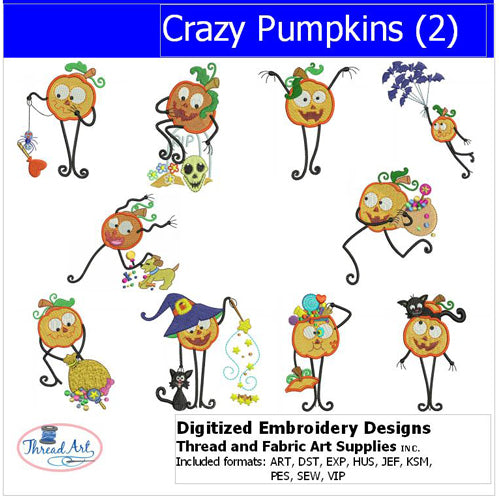Machine Embroidery Designs - Crazy Pumpkins(2) - Threadart.com