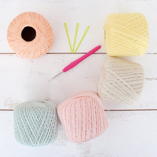 Cotton Crochet Thread Set - Pastel Colors - Size 10 - Five 175 Yd Balls - Threadart.com