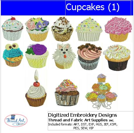 Machine Embroidery Designs - Cupcakes(1) - Threadart.com