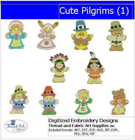Machine Embroidery Designs - Cute Pilgrims(1) - Threadart.com