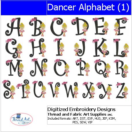 Machine Embroidery Designs - Dancer Alphabet(1) - Threadart.com