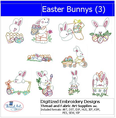 Machine Embroidery Designs - Easter Bunnys(3) - Threadart.com