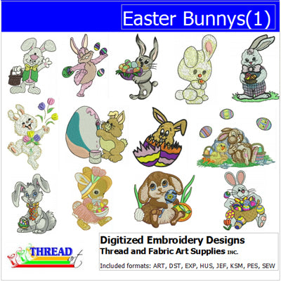 Machine Embroidery Designs - Easter Bunnys(1) - Threadart.com