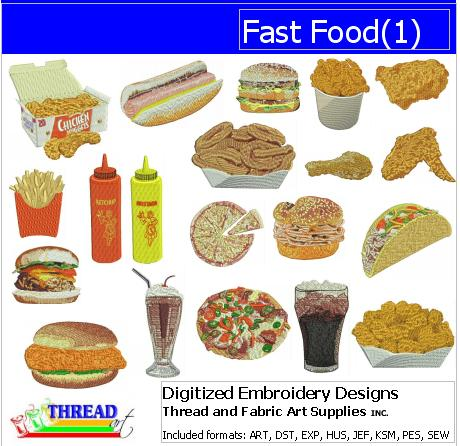 Machine Embroidery Designs - Fast Food(1) - Threadart.com