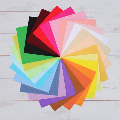 "Premium Felt Fabric Variety Pack - 25 Different Colors 12"" x 12"" Sheets - Threadart.com"