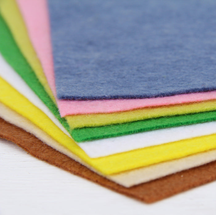 "Premium Felt Fabric Variety Pack - 8 Different Flower Garden Colors - 12"" x 12"" Sheets - Threadart.com"