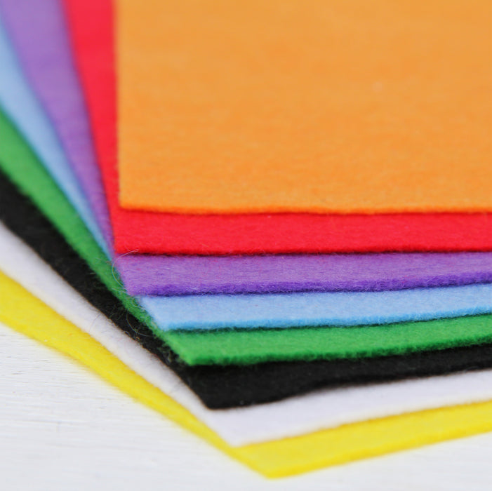 "Premium Felt Fabric Variety Pack - 8 Different Rainbow Colors - 12"" x 12"" Sheets - Threadart.com"