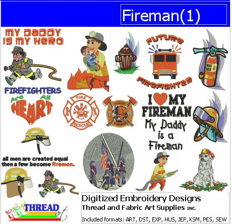 Machine Embroidery Designs - Fireman(1) - Threadart.com