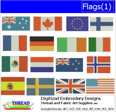 Machine Embroidery Designs - Flags(1) - Threadart.com