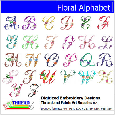 Machine Embroidery Designs - Floral Alphabet - Threadart.com