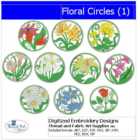 Machine Embroidery Designs - Floral Circles(1) - Threadart.com