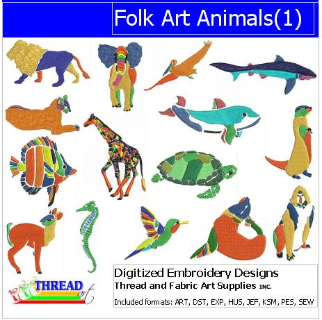 Machine Embroidery Designs - Folk Art Animals(1) - Threadart.com