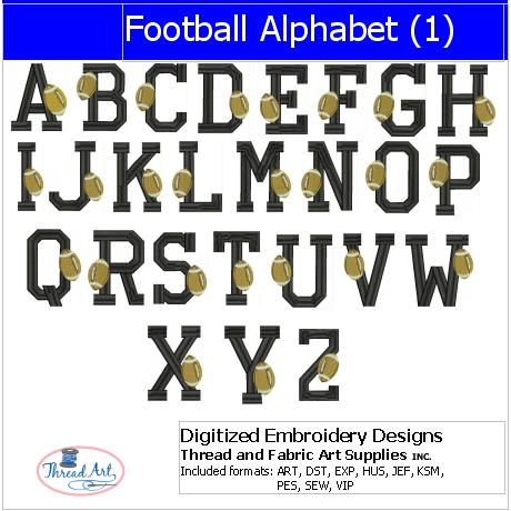 Machine Embroidery Designs - Football Alphabet(1) - Threadart.com