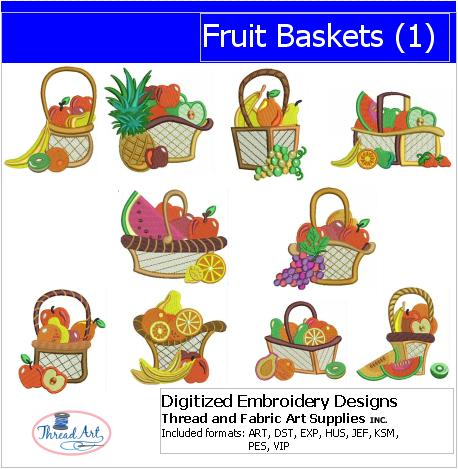 Machine Embroidery Designs - Fruit Baskets(1) - Threadart.com