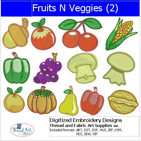 Machine Embroidery Designs - Fruits N Veggies(2) - Threadart.com