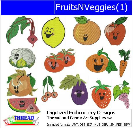 Machine Embroidery Designs - Fruits N Veggies(1) - Threadart.com