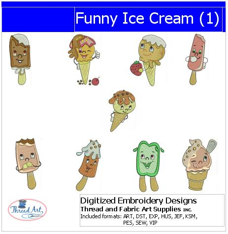 Machine Embroidery Designs - Funny Ice Cream(1) - Threadart.com