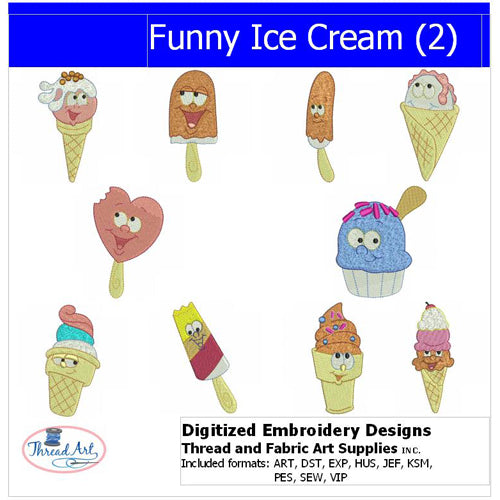 Machine Embroidery Designs - Funny Ice Cream(2) - Threadart.com