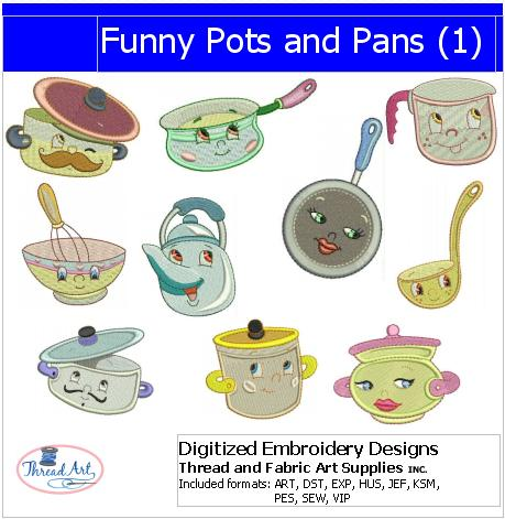 Machine Embroidery Designs - Funny Pots and Pans(1) - Threadart.com