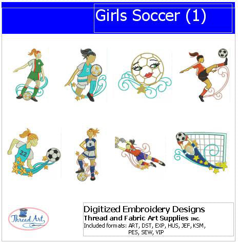 Machine Embroidery Designs - Girls Soccer(1) - Threadart.com