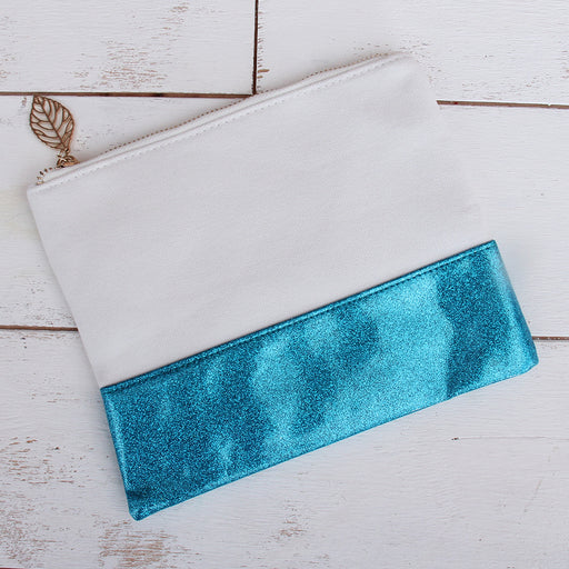 Canvas & Glitter MakeUp Bag - Aqua - Threadart.com