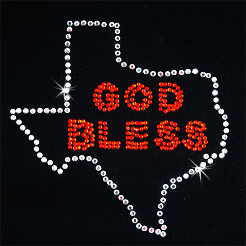 Hot Fix Rhinestone Heat Transfer Motif God Bless Texas - Threadart.com