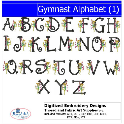 Machine Embroidery Designs - Gymnastics Alphabet - Threadart.com