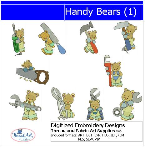 Machine Embroidery Designs - Handy Bears(1) - Threadart.com
